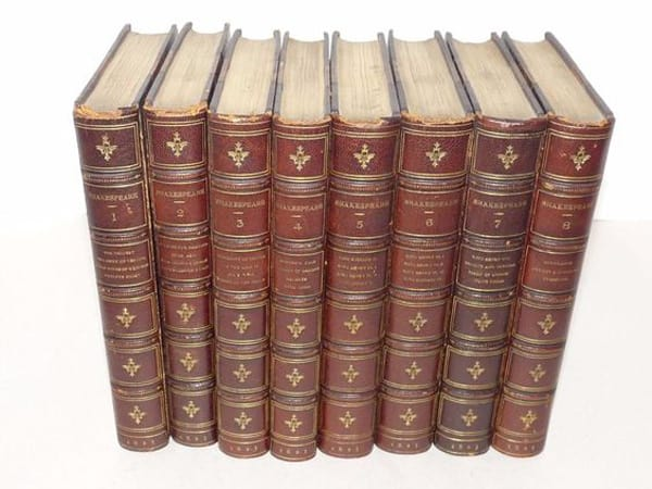 ANTIQUE 3_4 Leather Shakespeare 8 Volumes 1825 William Pickering LONDON
