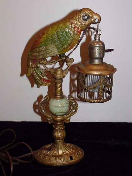 Antique 1930s Art Deco Cast Polychrome Parrot Lamp Holding Cage Slag Glass Works