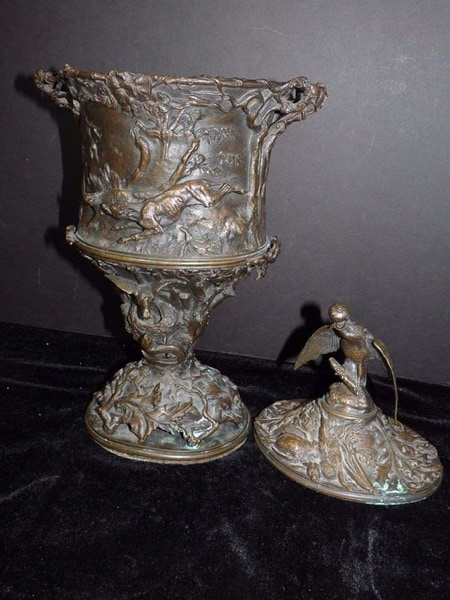P J Mene Mid 19th C. French Bronze Covered Urn Hunting Scene Falcon Pierre Jules