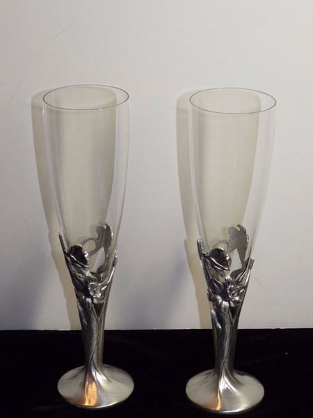 Pair RARE Champagne TOASTING FLUTES Daffodil SEAGULL Pewter Stems Art Nouveau